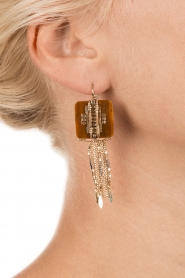 Satellite Paris | 14k verguld gouden oorbellen Nicole | bruin  | Afbeelding 3
