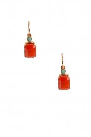 Satellite Paris | 14k verguld gouden oorbellen Carré | oranje  | Afbeelding 2