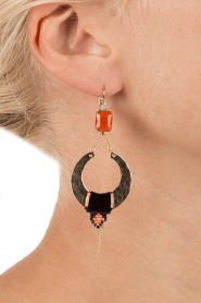 Satellite Paris | 14k verguld gouden oorbellen Cecille | oranje  | Afbeelding 3