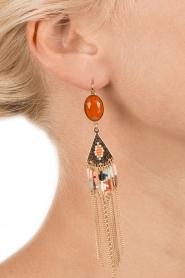Satellite Paris | 14k verguld gouden oorbellen Fay | oranje  | Afbeelding 3