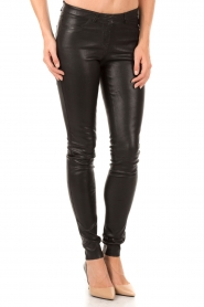 Leather 5-pocket pants Cory | black
