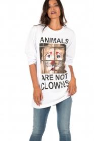 ELISABETTA FRANCHI | Lang T-shirt Animal | wit  | Afbeelding 2