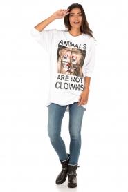ELISABETTA FRANCHI | Lang T-shirt Animal | wit  | Afbeelding 3