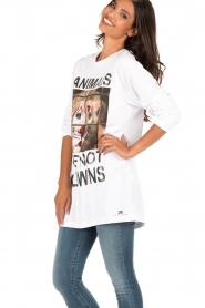 ELISABETTA FRANCHI | Lang T-shirt Animal | wit  | Afbeelding 4