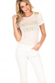 Patrizia Pepe | T-shirt Maglia | wit  | Afbeelding 2