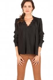 IKKS | Pussybow blouse Tess | zwart  | Afbeelding 2