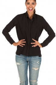 Blouse with removable collar Lauren | black