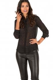 Patrizia Pepe | Doorschijnende blouse Simona | zwart  | Afbeelding 2