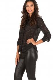 Patrizia Pepe | Doorschijnende blouse Simona | zwart  | Afbeelding 4