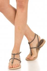 Maluo | Leren sandalen Marie | grijs  | Afbeelding 2