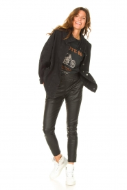 Ibana | Stretchleren broek Colette | zwart   | Afbeelding 2