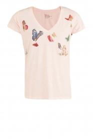 Leon & Harper | T-shirt Butterfly | lichtroze  | Afbeelding 1