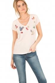 Leon & Harper | T-shirt Butterfly | lichtroze  | Afbeelding 2