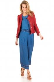 Hoss Intropia | Zijden blouse Alita | blue  | Afbeelding 3