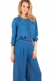 Hoss Intropia | Zijden blouse Alita | blue  | Afbeelding 4