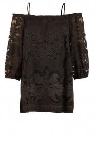 Ana Alcazar | Kanten blouse Loey | zwart  | Afbeelding 1