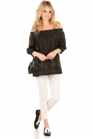 Ana Alcazar | Kanten blouse Loey | zwart  | Afbeelding 3