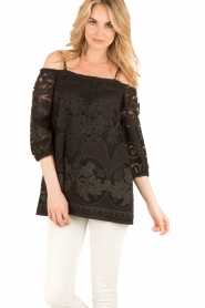 Ana Alcazar | Kanten blouse Loey | zwart  | Afbeelding 2