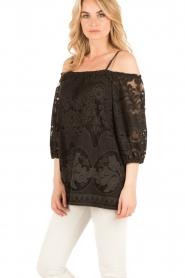 Ana Alcazar | Kanten blouse Loey | zwart  | Afbeelding 4