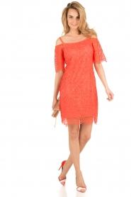 Ana Alcazar | Kanten off-shoulder jurk Flaris | koraal  | Afbeelding 3