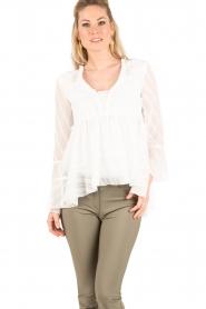Patrizia Pepe   Semi-sheer blouse Vera   wit    Afbeelding 2