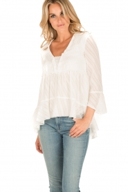 Patrizia Pepe | Semi-sheer blouse Vera | wit  | Afbeelding 2
