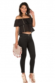 Patrizia Pepe | Off-shoulder top Flora | zwart  | Afbeelding 3