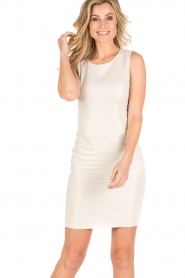 Patrizia Pepe |  Sleeveless cocktail dress Jaclyn | light gold  | Picture 2
