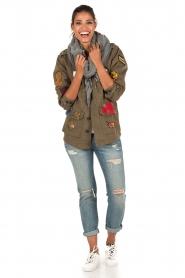 Leon & Harper | Jas met patches Vibe | khaki groen  | Afbeelding 3