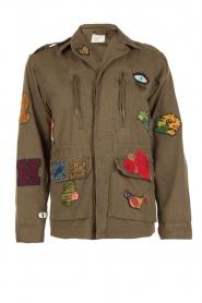 Leon & Harper | Jas met patches Vibe | khaki groen  | Afbeelding 1