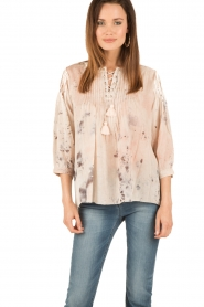 Hoss Intropia | Lace-up blouse Rosanna | roze  | Afbeelding 2