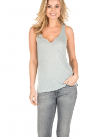 BLAUMAX |  Linen tank top Madrid | green  | Picture 2