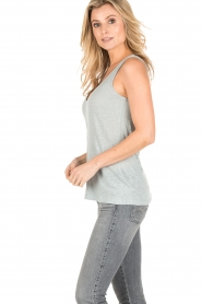 BLAUMAX |  Linen tank top Madrid | green  | Picture 3