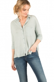 BLAUMAX |  Linen blouse Columbia | green  | Picture 2