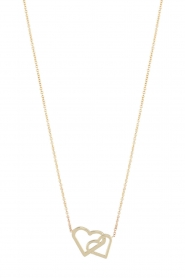 Just Franky | 14kt gouden ketting Double hearts | goud  | Afbeelding 1
