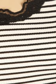 Rosemunde | Zijden strepentop Babette | zwartwit  | Afbeelding 6