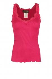 Rosemunde | Zijden V-hals top Babette | roze  | Afbeelding 1
