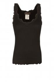 Rosemunde | Zijden V-hals top Babette | zwart  | Afbeelding 1