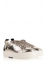 Morobé | Leren platform sneaker Cannes | zilver  | Afbeelding 3