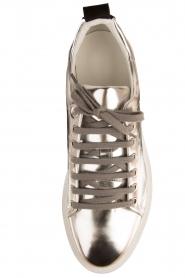 Morobé | Leren platform sneaker Cannes | zilver  | Afbeelding 5