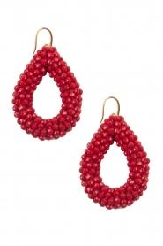 Miccy's | Oorbellen Open Crystal drops | rood  | Afbeelding 1