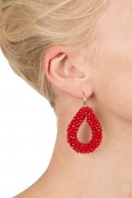 Miccy's | Oorbellen Open Crystal drops | rood  | Afbeelding 3