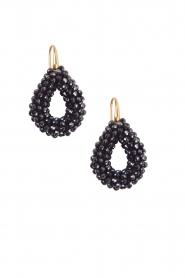 Miccy's | Oorbellen Open Crystal drops small | zwart  | Afbeelding 2