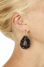 Miccy's | Oorbellen Open Crystal drops small | zwart  | Afbeelding 3