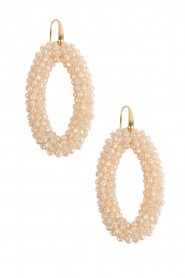 Earrings crystal ovals | white