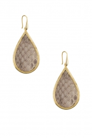 Close to Zen |  22ct gold plated earrings Tears Snake medium | grey  | Picture 2