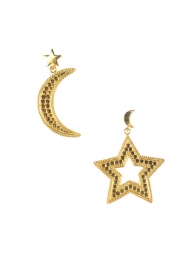 22k vergulden oorbellen Star and Moon | goud