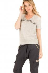 IKKS | Linnen T-shirt V-hals Masterpiece | grijs  | Afbeelding 2
