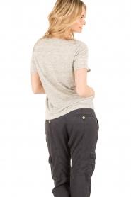 IKKS | Linnen T-shirt V-hals Masterpiece | grijs  | Afbeelding 5