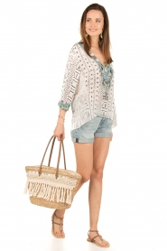 Camilla | Zijden blouse Maasai Mosh | wit  | Afbeelding 3